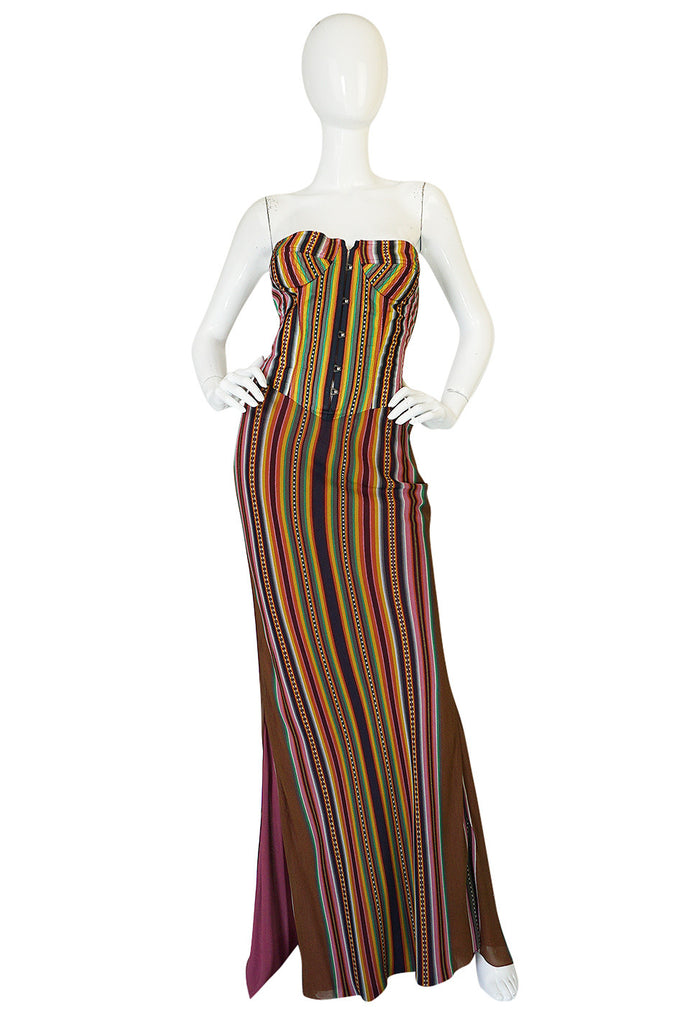 S/S 2002 Galliano for Christian Dior Striped Corset Dress