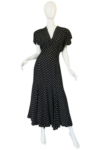 1980s Norma Kamali Black & White Full Skirted Dress