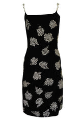 1990s Todd Oldham Glass Bead & Crystal Jewel Strap Velvet Dress