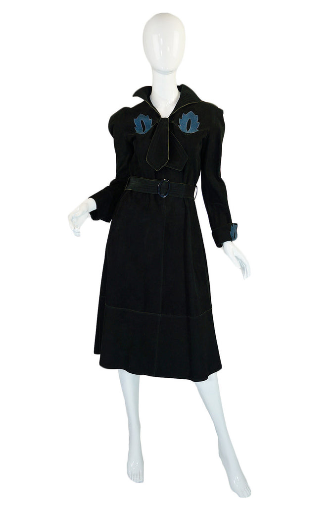 1970s Museum Quality Jean Muir Suede Dress