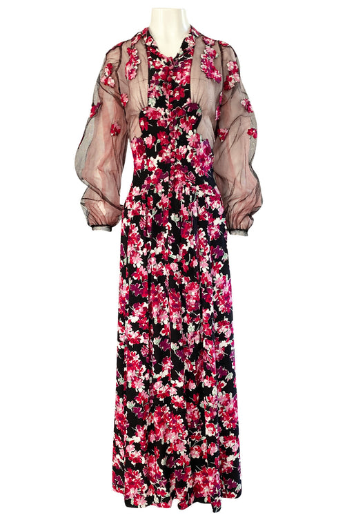 1930s Bright Pink Floral Hand Applique on Silk Dress w Net Sleeves