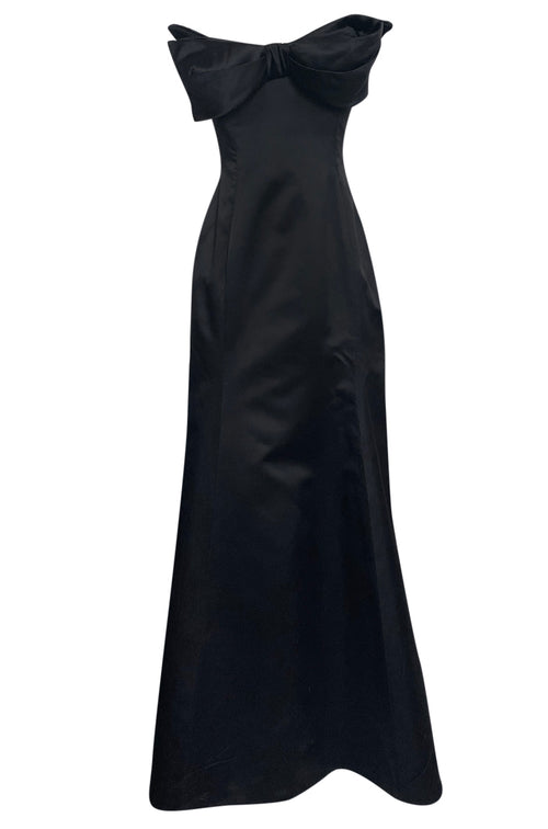 Fall 1998 Vivienne Westwood Bow Front Black Silk Satin Strapless Corset Dress - 25% OFF TAKEN AT CHECKOUT