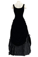 Fall 1998 Christian Lacroix Runway Black Velvet Dress W Signature Puffed Silk Taffeta Underskirt