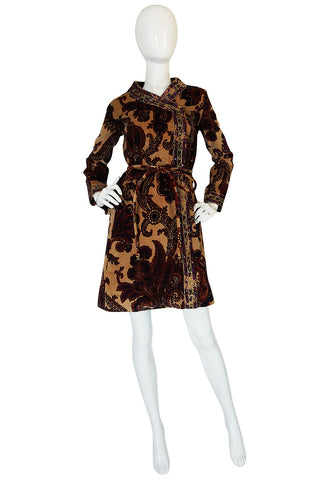 1960s Mr Mort Rich Printed Velvet Wrap Dress or Coat