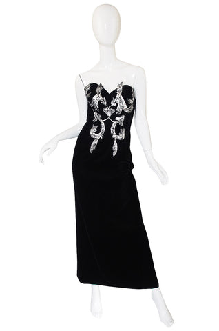 1970s Silver Applique Velvet Victor Costa Gown