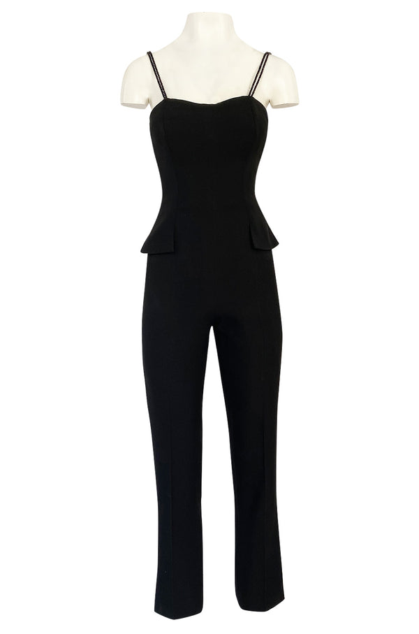 Pre-fall 1997 Christian Dior by Galliano Sleek Flared Leg Black Jumpsuit w Beaded Straps & Hip Peplum