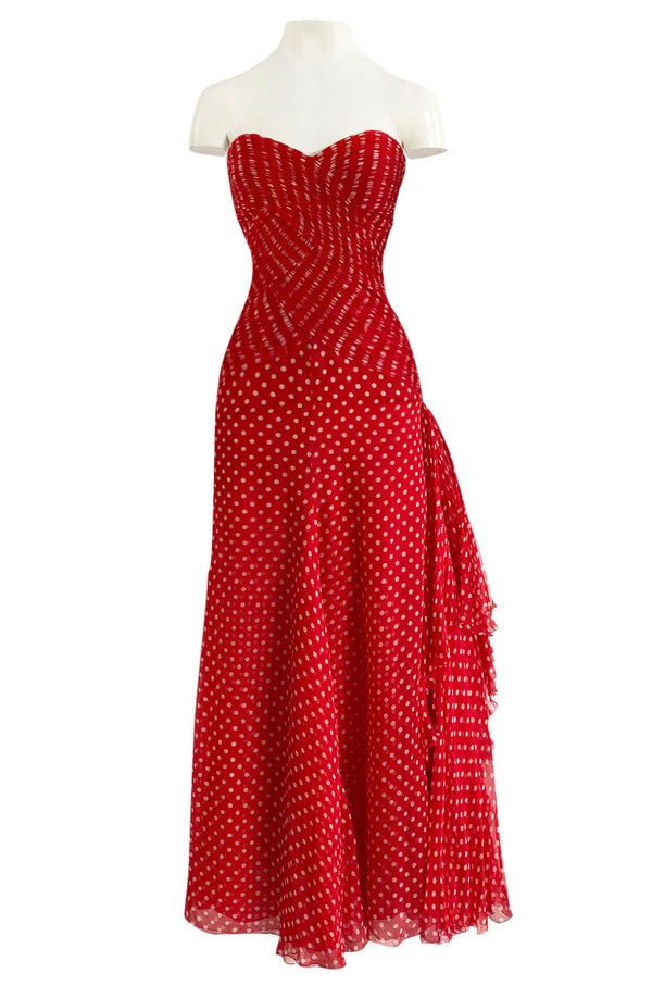 Important Spring 1986 Valentino Haute Couture Red & White Dot Strapless Silk Chiffon Dress