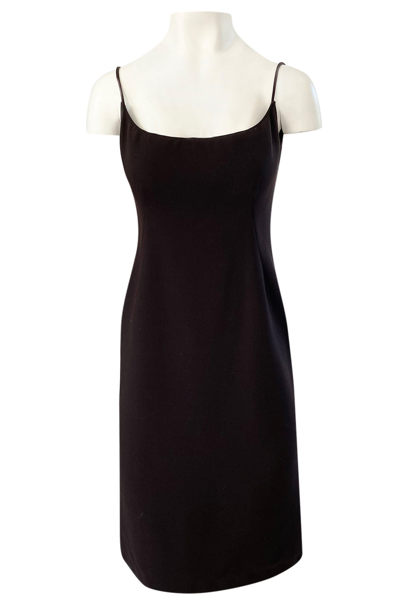 1960s Unlabeled Norman Norell Deep Brown Dress w Dipped Back