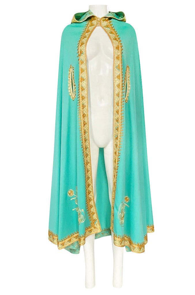 1970s Turquoise Jersey Cape with Gold Cord Braiding Detailing & Hood