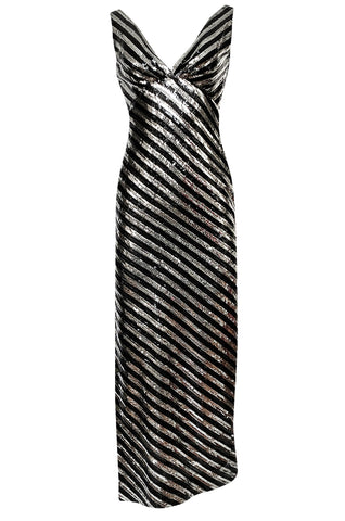 1970s Ruben Panis Silver & Black Sequin Low Front & Back Dress
