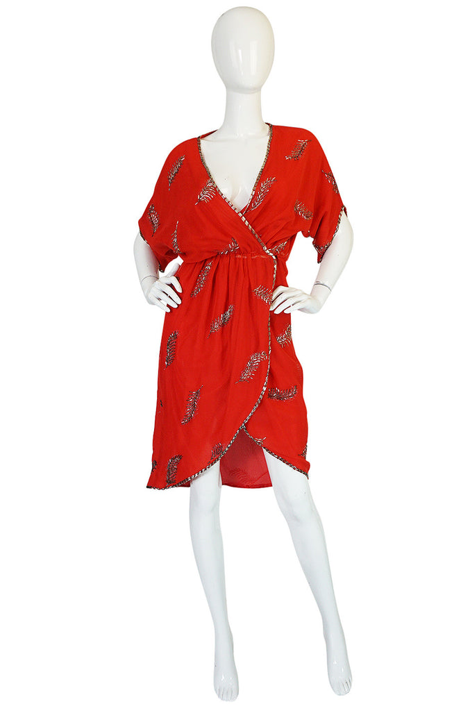 1960s Red Wrap Dress with Beading and Glitter Detail
