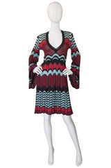 1990s Metallic Knit Missoni Dress with Flare Sleeves