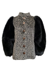 Fall 1992 Yves Saint Laurent Incredible Huge Sleeves Faux Fur Jacket
