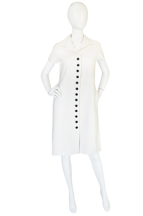 1960s White Linen Black Button Norman Norell Dress