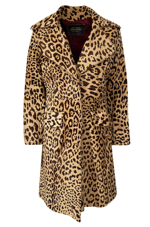 1960s Ginatai Mexican Leopard Print Pony Coat w Flap Pockets