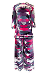 Iconic 1960s Emilio Pucci Pink Print Velvet Pant & Tunic/Dress Set