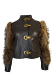 1960s Fur Sleeve Leather Bomber Jacket w Brass Hook Closures