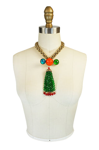 1980s Yves Saint Laurent Poured Glass Brilliant Brooch Necklace