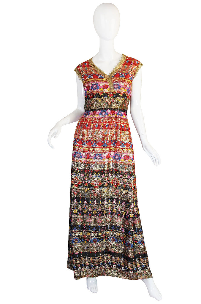 1960s Metallic & Print Malcolm Starr Maxi Dress