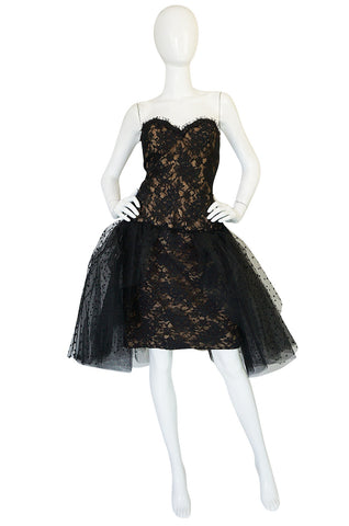 1980s Victor Costa Fitted Lace Dress w Dotted Tulle Overskirt