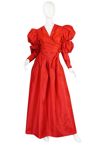 c1980 Red Silk Yves Saint Laurent Attr Wrap Top & Skirt