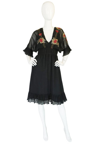 1970s Janice Wainwright Embroidered Chiffon Dress