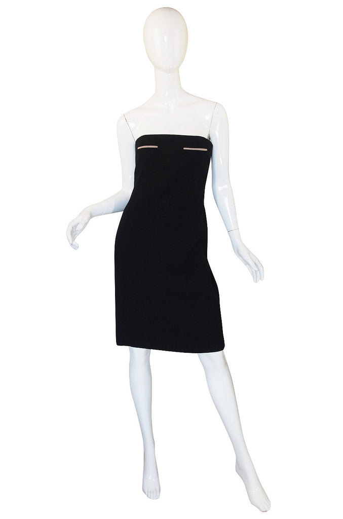 1980s Geoffrey Beene Graphic Strapless Dress