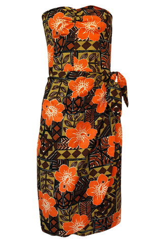 1950s Unlabeled Cotton Hawaiian Orange & Tan Floral Print Dress