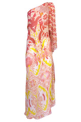 Recent Roberto Cavalli Printed Bias Cut Silk One Shoulder Dress