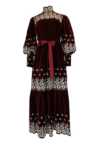 1960s Bill Tice Rich Garnet Velvet & Embroidered Floral Dress