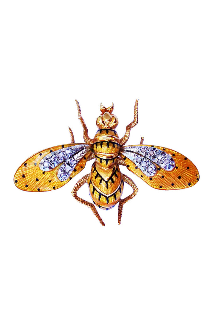 1950s Gold Platinum Diamond Guilloche Enamel Wasp