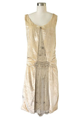 1920s Gold Ivory Silk Velvet & Silk Chiffon Pearl Flower Beaded Dress