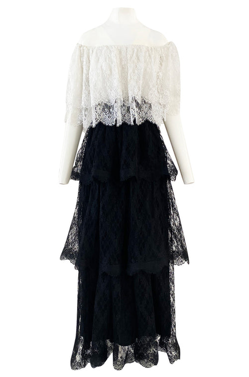 Prettiest 1970s Alfred Bosand Black & White Lace Tiered Off Shoulder Full Length Dress