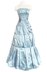 Custom Made 1998 Ice Baby Blue Silk Satin Intricate Panel Strapless Dress W Bead Detail