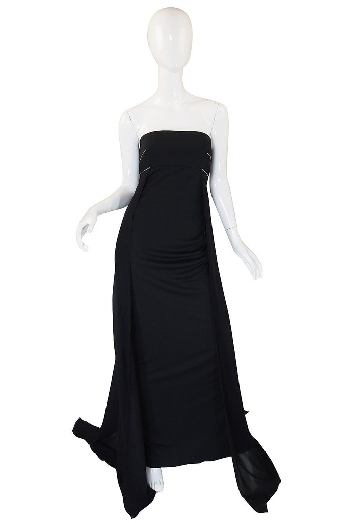 1980s Dramatic Claude Montana Strapless Gown
