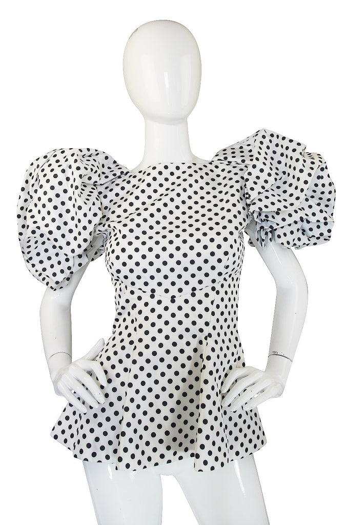 1980s Dramatic Vicky Tiel Couture Dot Top
