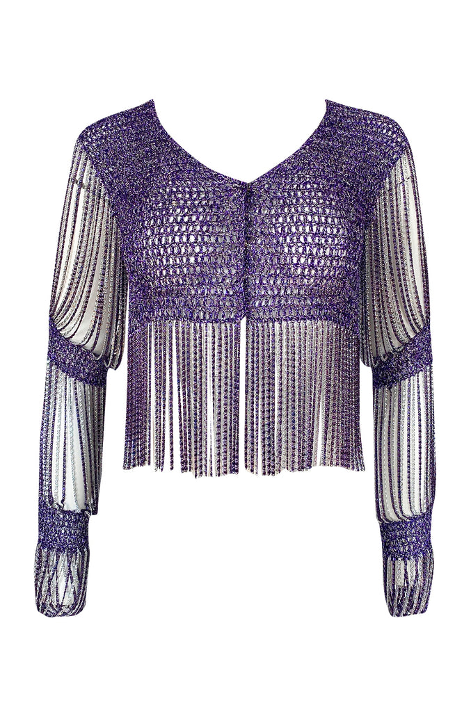 1971 Loris Azzaro Purple Metallic Lame Crochet Knit & Silver Chain Top