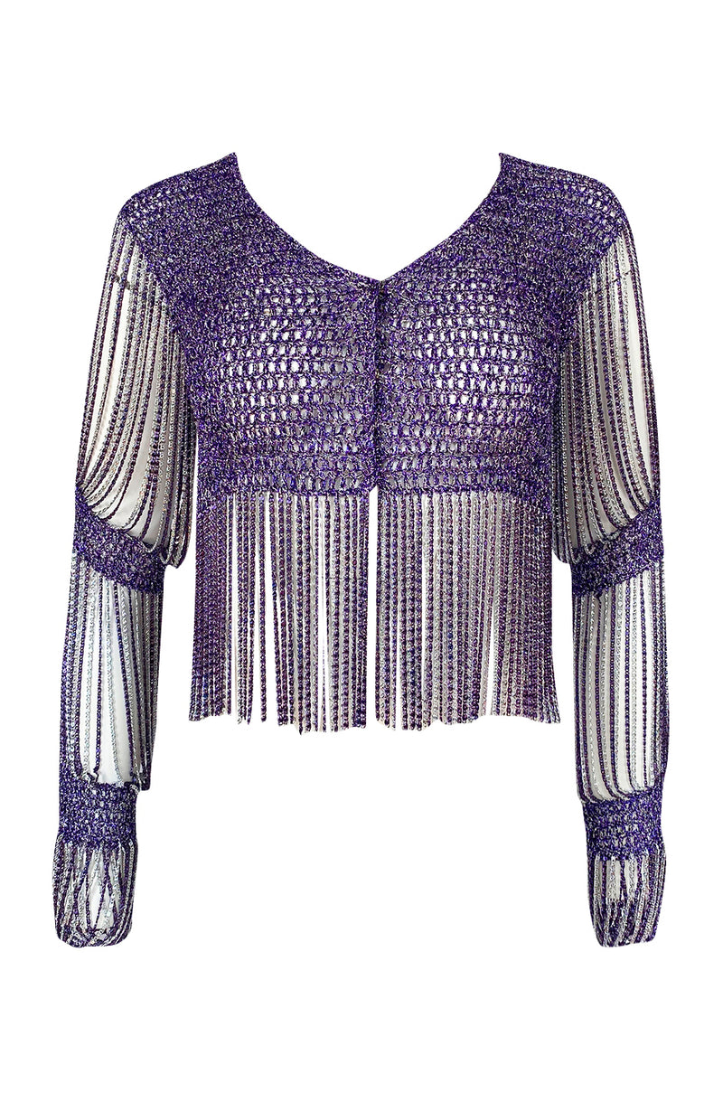 1971- 1973 Loris Azzaro Purple Metallic Lame Crochet Knit & Silver Chain Top