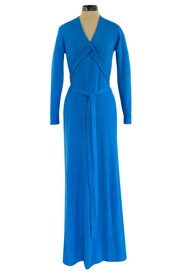 Documented Fall 1977 Halston Cashmere Sky Blue Dress w Extra Long Attached Wrap Ties