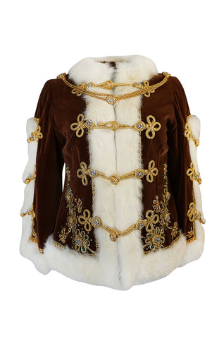 Remarkable 1960s Heavily Embellished Velvet & Fur Band Jacket
