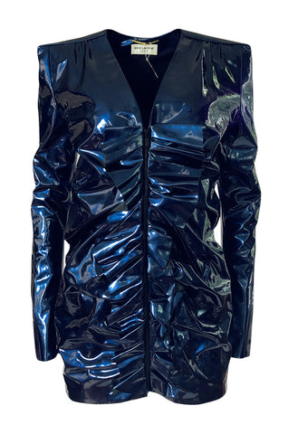 Fall 2017 Yves Saint Laurent Blue Patent Leather Ruffled Runway Dress