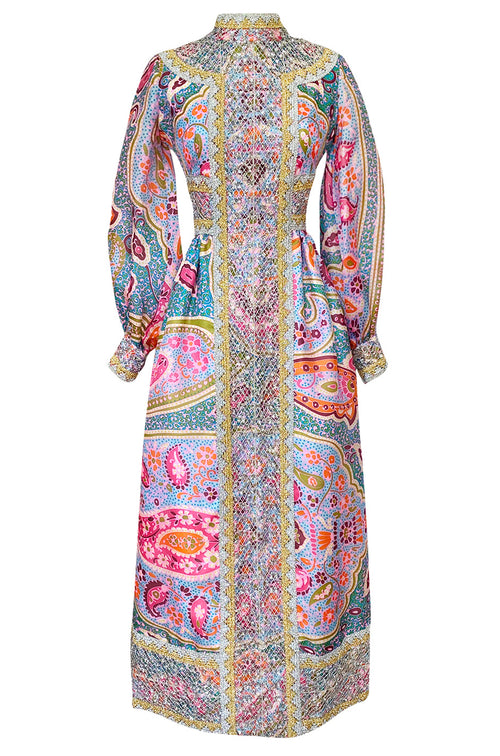 1970s Ronald Amey Pale Pastel Print Dress w Silver & Gold Metallic Detailing