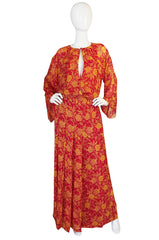Documented 1976 Christian Dior Silk Chiffon Dress Set
