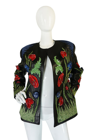 1987 Jean-Claude Jitrois Lesage 3D Floral Leather Jacket