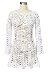 1970s Cobbler Open Weave White Cotton Knit Mini Dress or Tunic