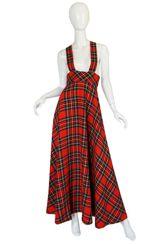 1960s Quad Boutique Red Plaid Maxi Dress Jumper