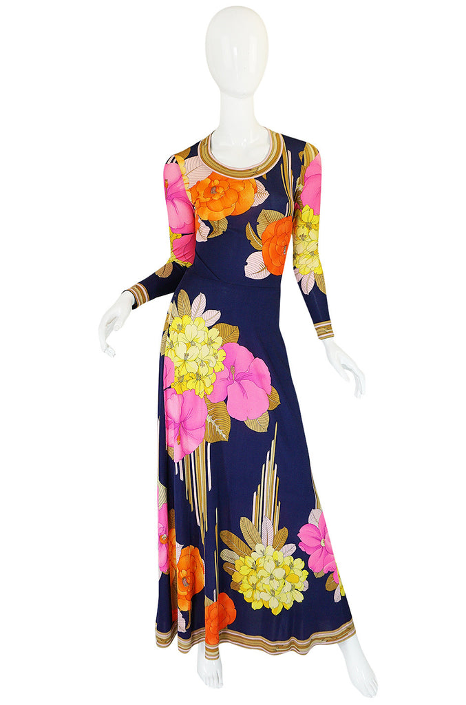 Beautiful 1970s Tropical Print Silk Jersey Leonard Maxi Dress