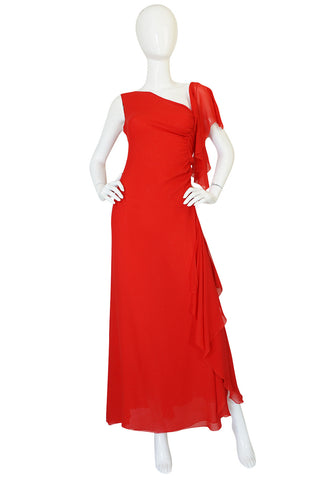 1990s Valentino Plunged Back Red Ruffled Silk Chiffon Dress