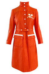 Iconic 1960s Andres Courreges Vivid Orange  & White Vinyl Coat or Dress w Original Belt
