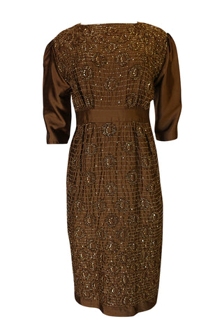 1960s Unlabeled Demi Couture Bead & Sequin Copper Silk Dress
